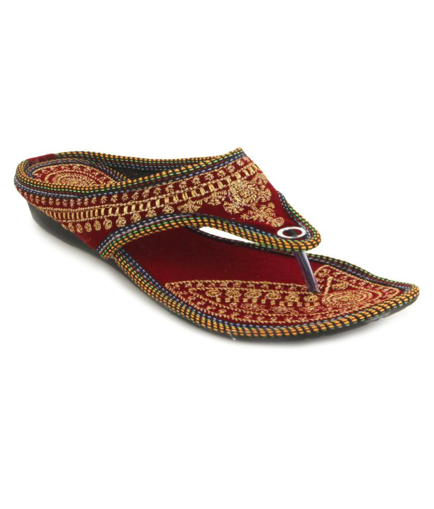 Sindrella Steps Maroon Wedges Ethnic Footwear