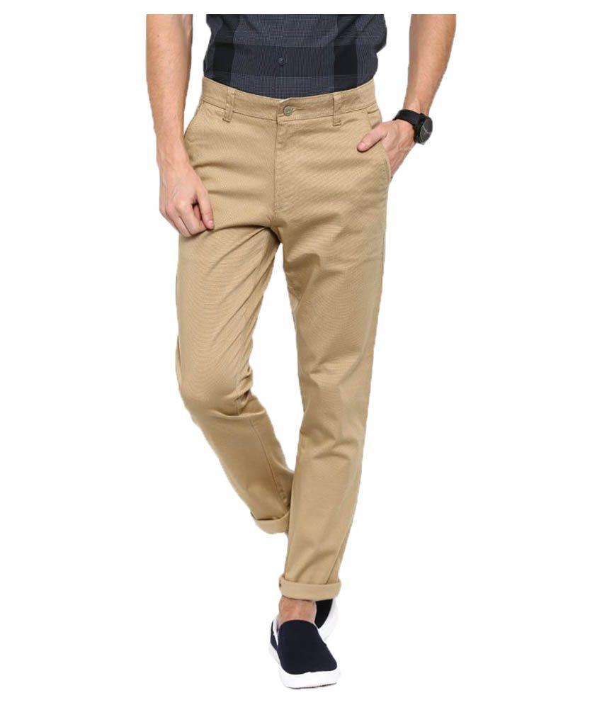 Oshano Beige Regular Flat Trouser