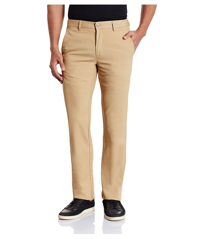 Oshano Beige Regular Flat Trouser