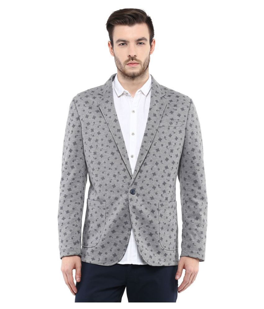 Mufti Grey Solid Casual Blazers