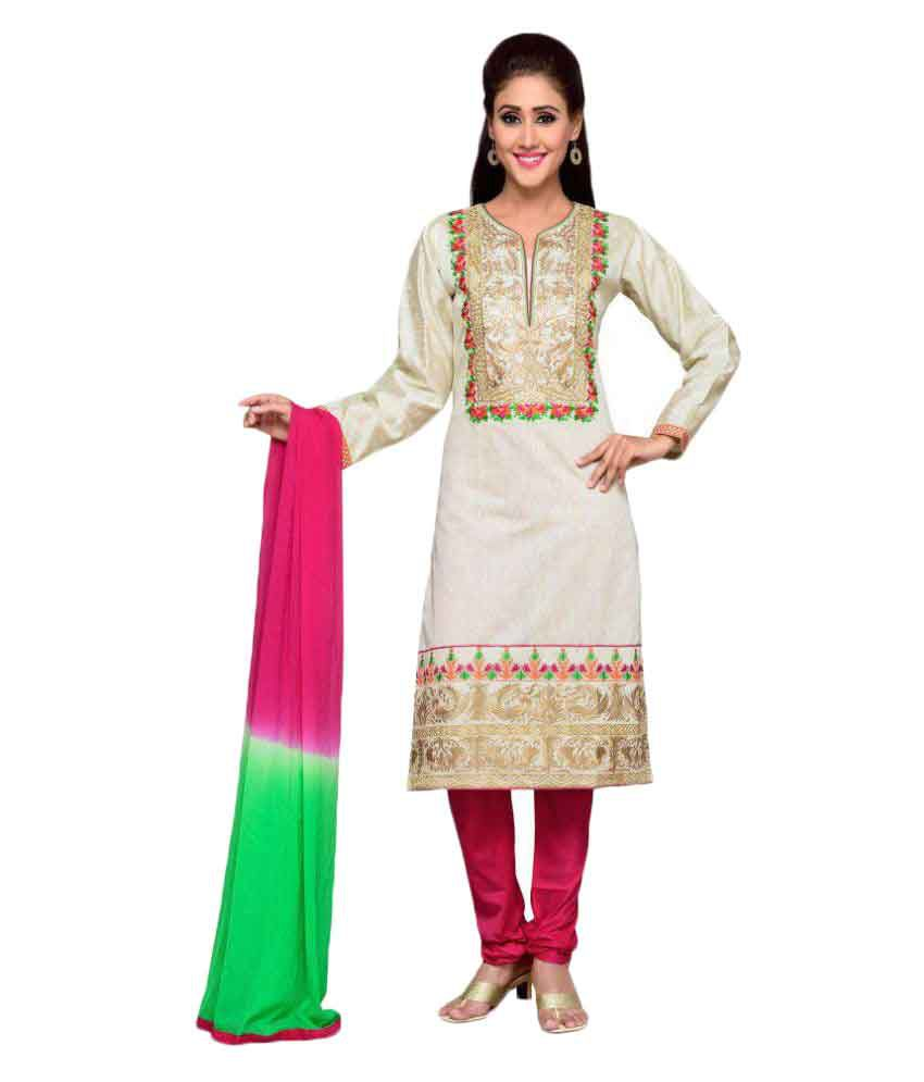 Charu Boutique Silver Cotton Silk Straight Stitched Suit