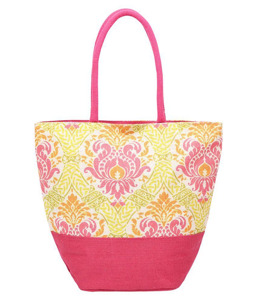 Angesbags Pink Jute Shoulder Bag