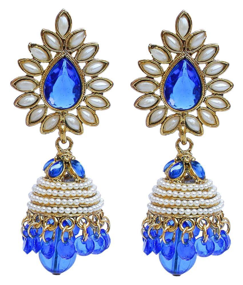 Blue Designer Partywear Jhumki