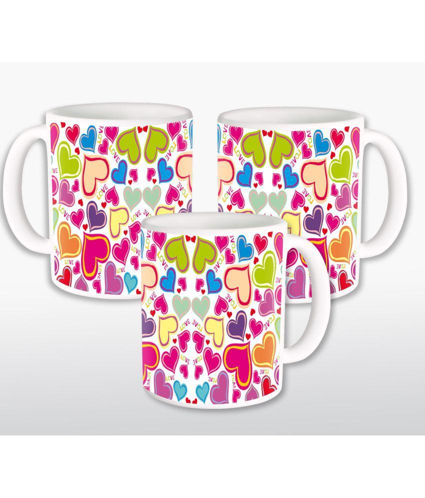 Heyworlds Ceramic Coffee Mug 3 Pcs 325 ml