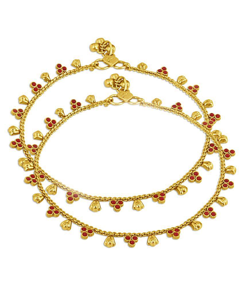 Inaya Gold Plated And Maroon Stone Payal , 1 Set