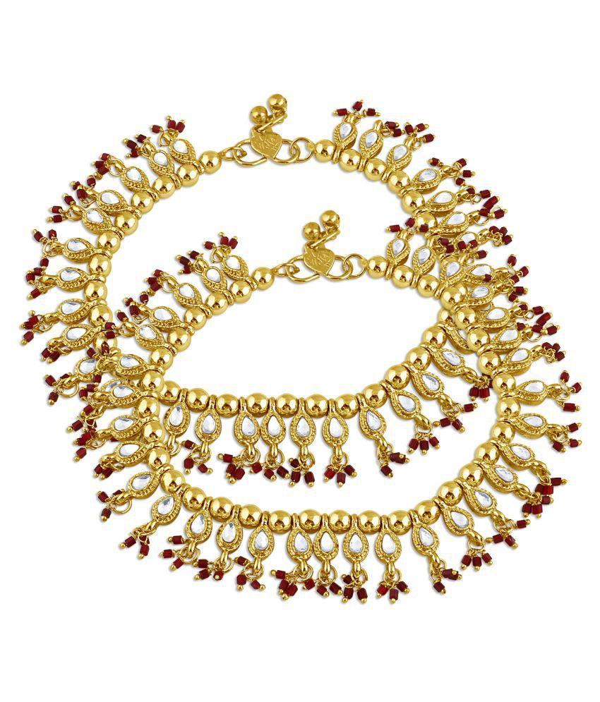 Inaya Gold Plated Golden Alloy Payal