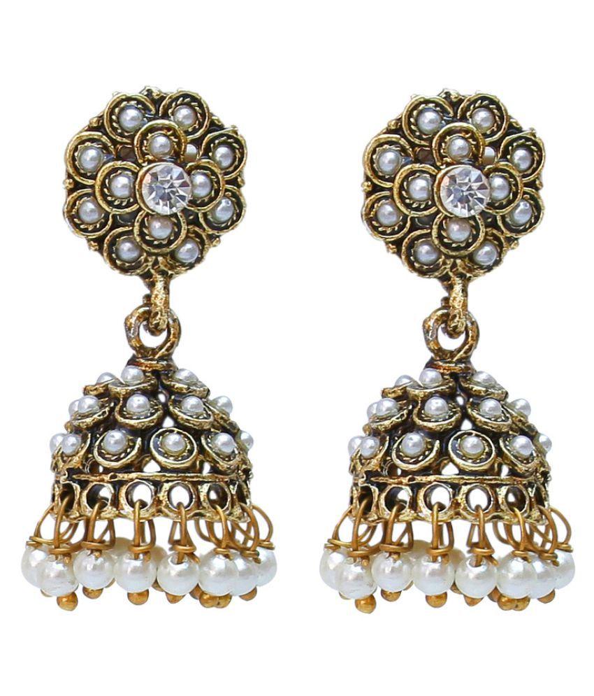 Lucky Jewellery White Designer Jhumki