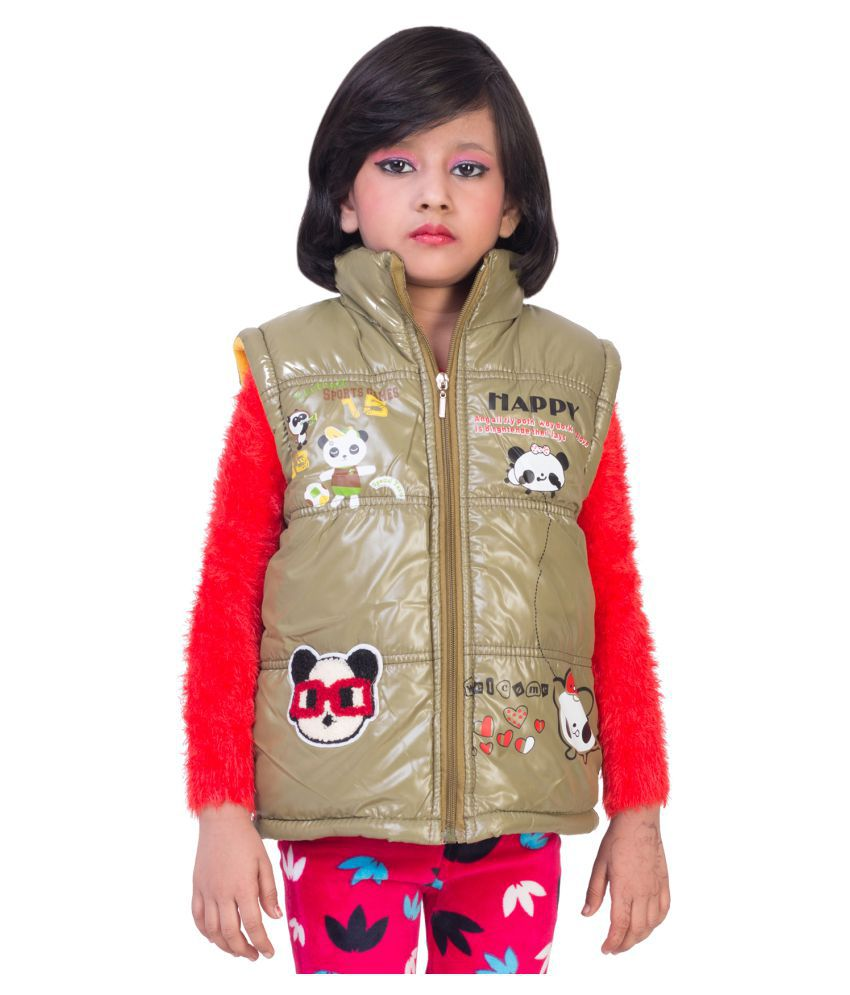 MDS Jeans Brown Polyster Jacket For Girls