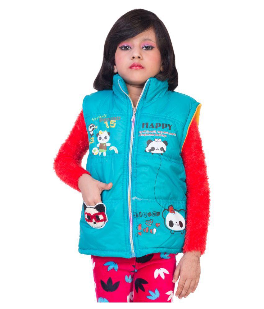 MDS Jeans Sky Blue Polyster Lycra Jacket for Girls