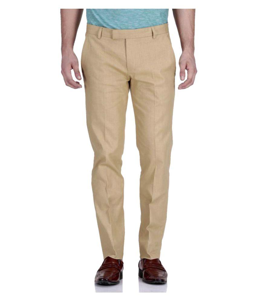 Pixo Khaki Slim Flat Trouser