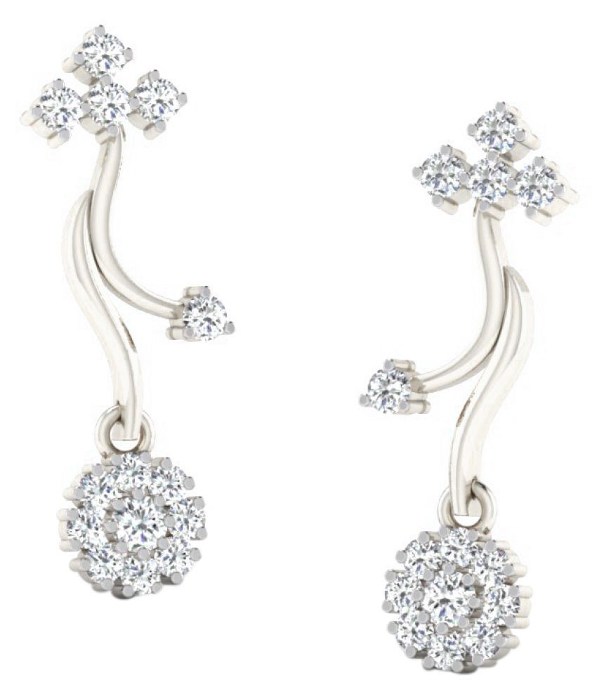 Sparkles 18K White Gold Diamond Drop Earrings