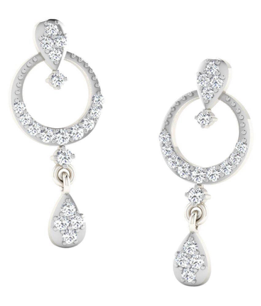 Sparkles 18K White Gold Diamond Drop Earrings