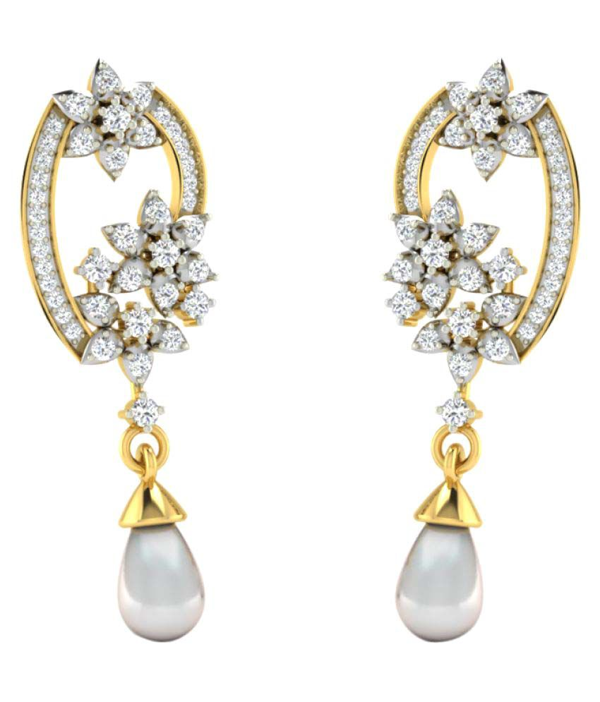 His & Her 18K Yellow Gold Diamond Drop Earrings