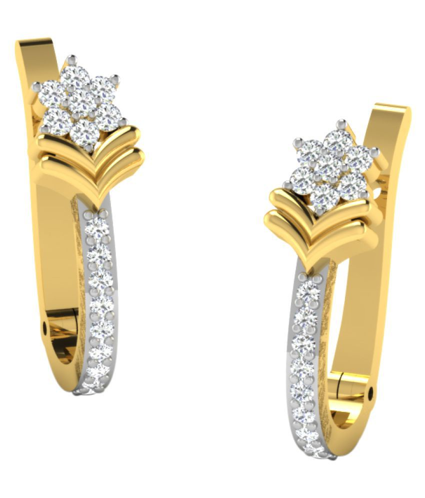 His & Her 18K Yellow Gold Diamond Huggies