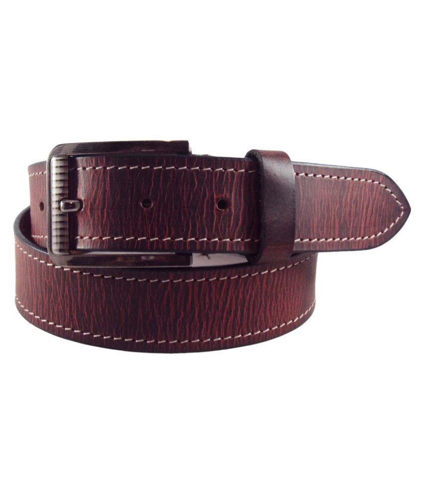 National Leathers Maroon Leather Casual Belts