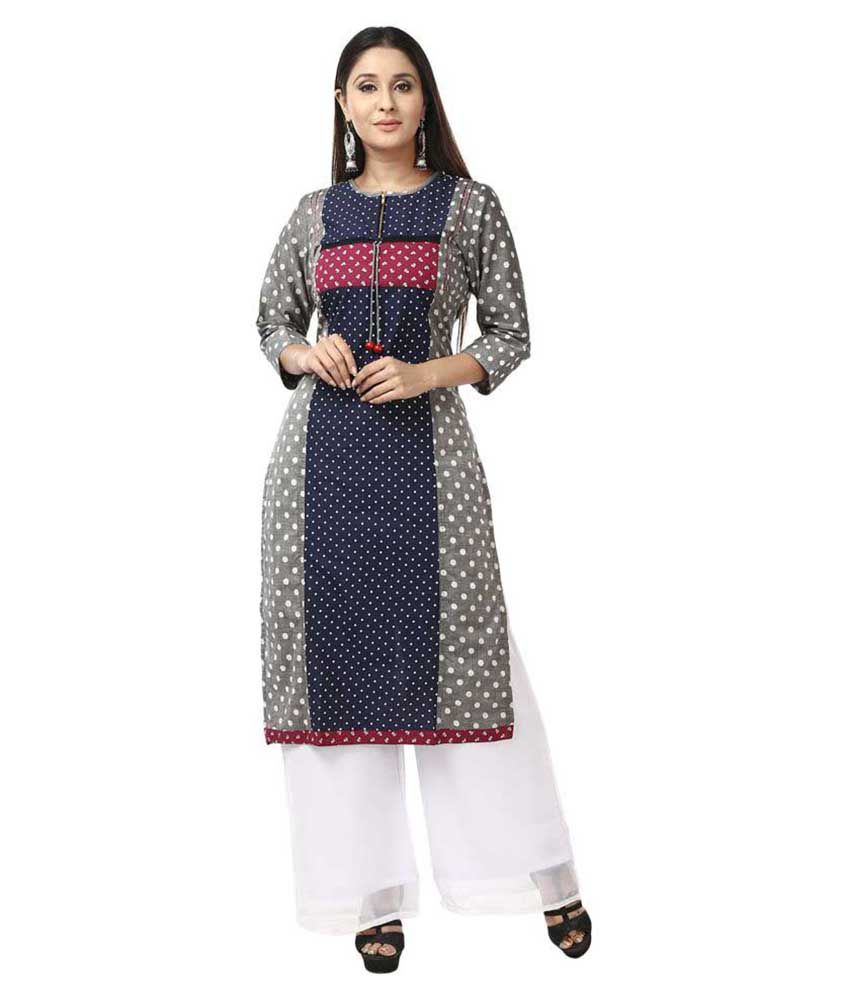 Desi Chhokri Multicoloured Cotton Straight Stitched Suit