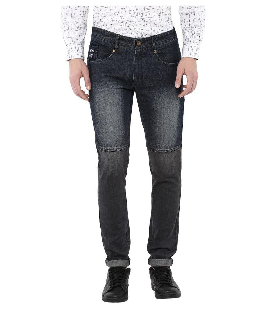 Atorse Grey Slim Washed Jeans