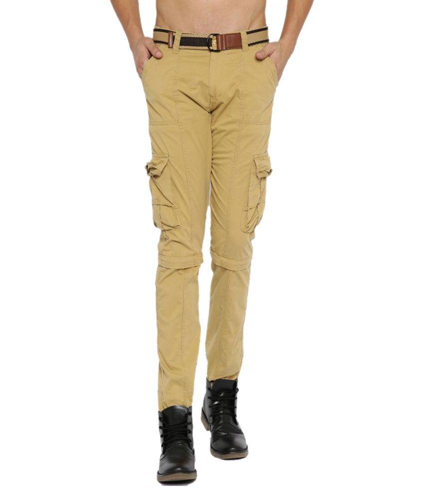 Sports 52 Wear Beige Regular Flat Trouser