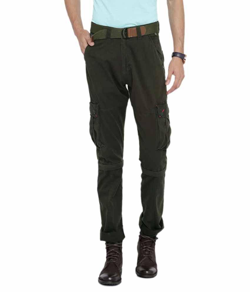 Sports 52 Wear Green Regular Flat Trouser