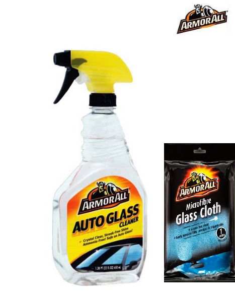 ArmorAll - Glass Cleaner 650ml + Armor All Glass Cloth