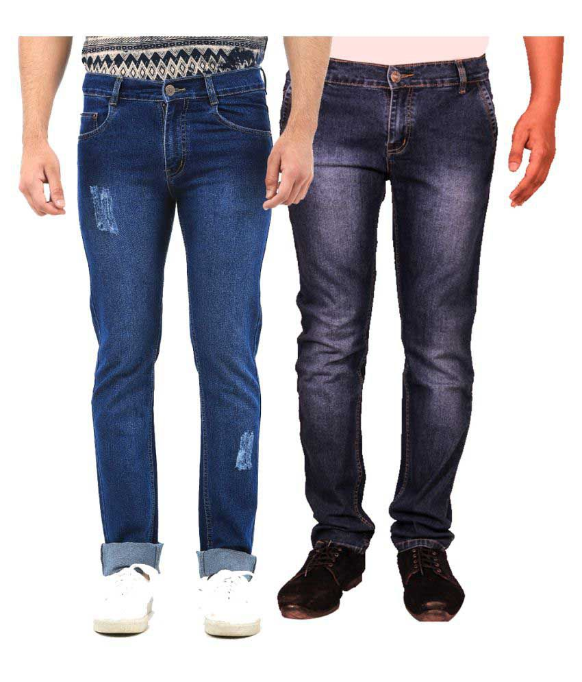 Van Galis Blue Regular Fit Faded Jeans - Pack of 2