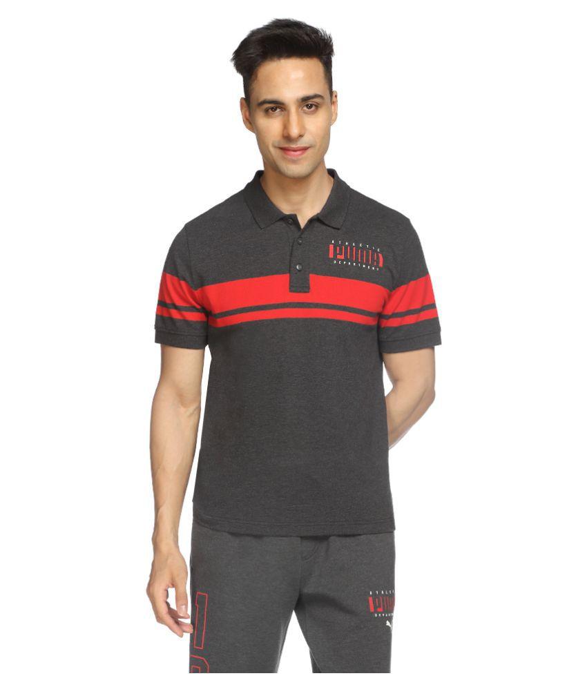 Puma Grey Cotton Polo T-Shirt Single Pack