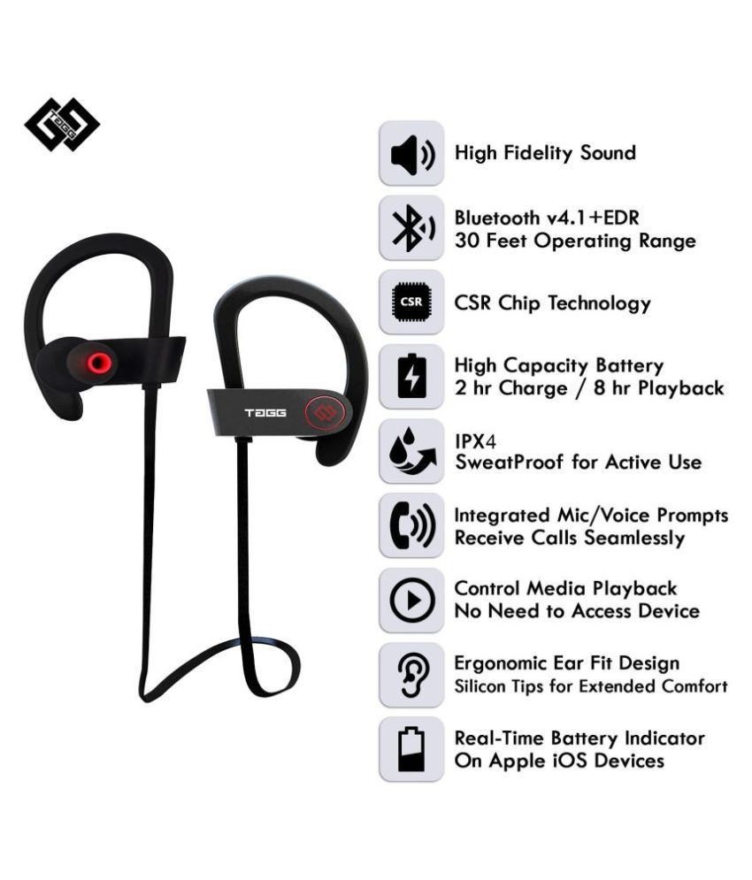 90274e4d6bf TAGG inferno (black) Bluetooth Headset - Black +Carry Case - Buy ...