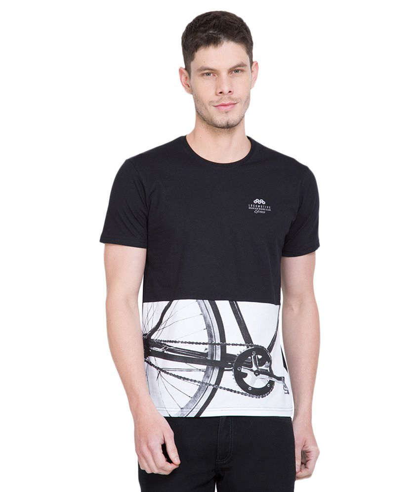 Locomotive Black Round T-Shirt