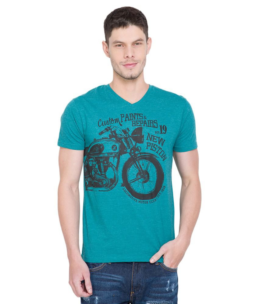 Locomotive Blue V-Neck T-Shirt