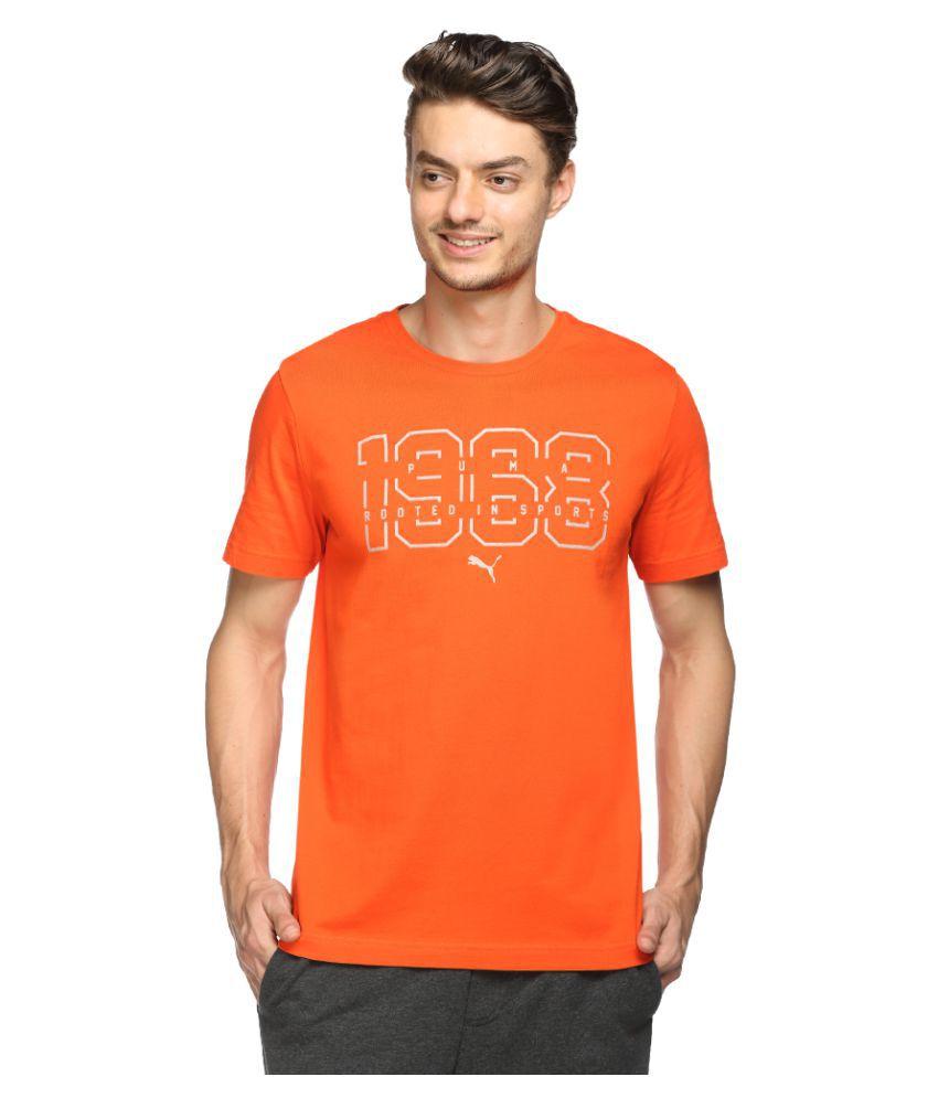Puma Orange Cotton T-Shirt Single Pack
