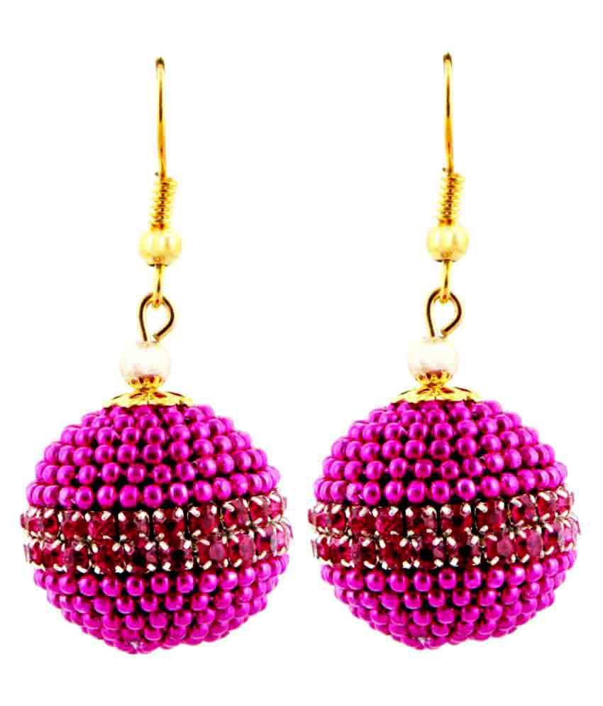 Creative_Studio Handmade Paper Quilling Magenta Ball Hanging Earrings