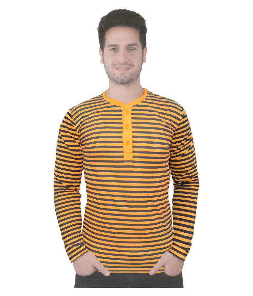Rags Style Yellow Henley T-Shirt