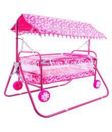 BabyGo Baby Cradle Cum Cot Cum Stroller Pink