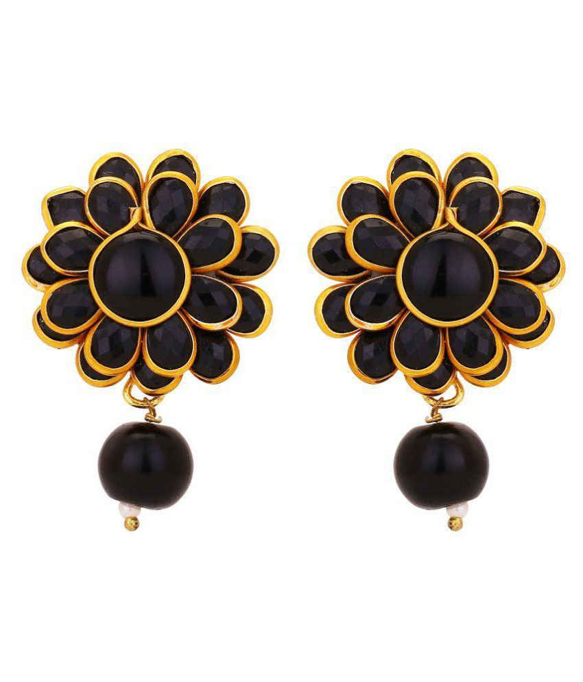Adwitiya Fashion Black Drop Earrings