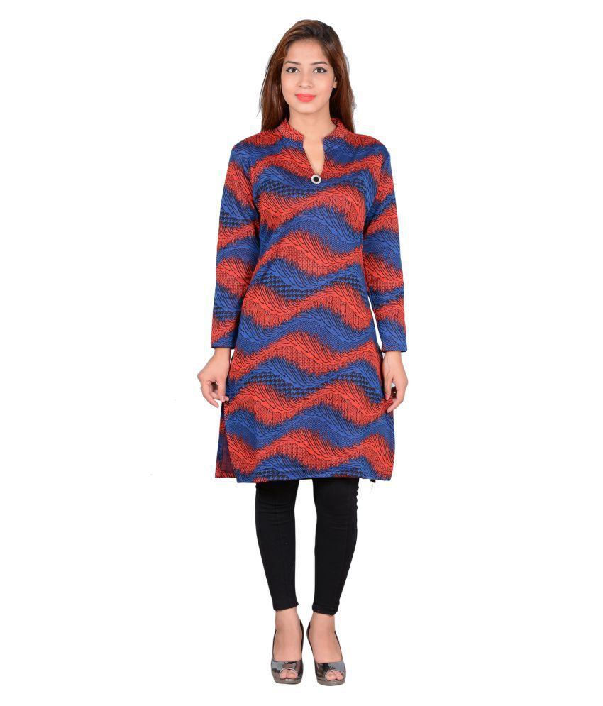 Nikky Fashion Multicoloured Woollen Straight Kurti