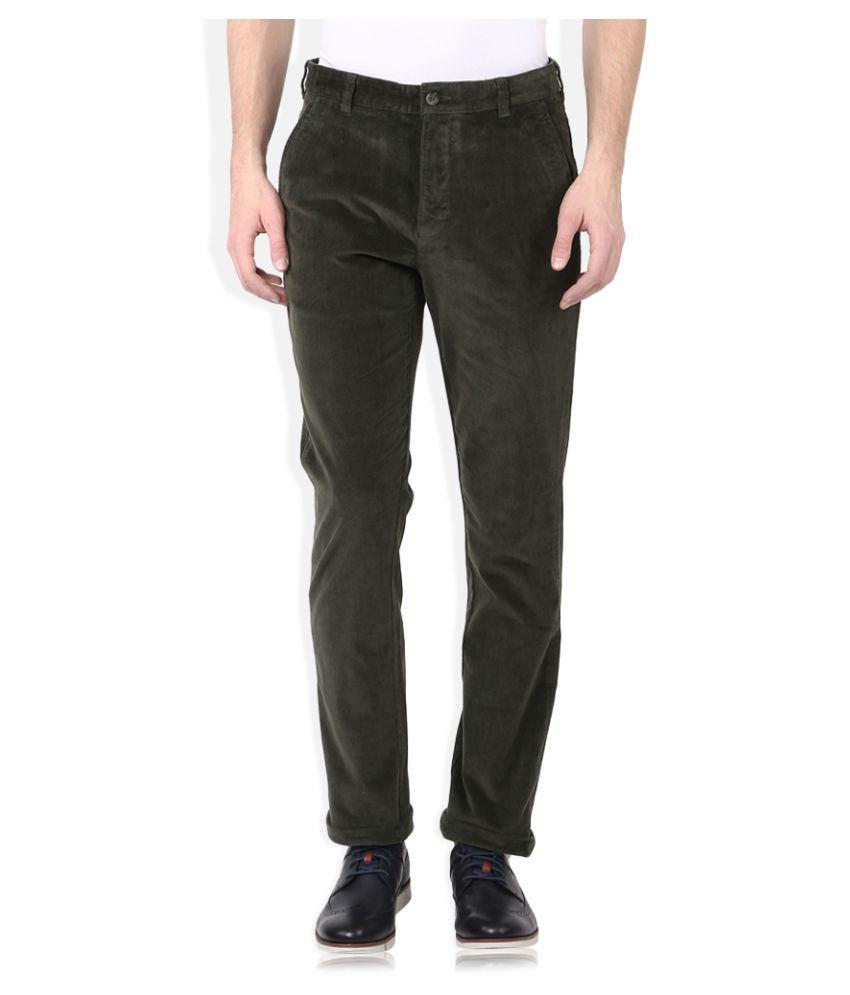 Parx Dark Green Slim Flat Trouser