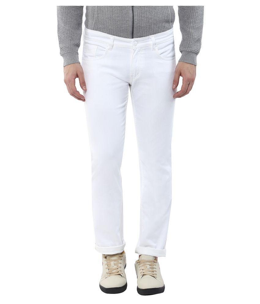 11cent White Slim Solid Jeans