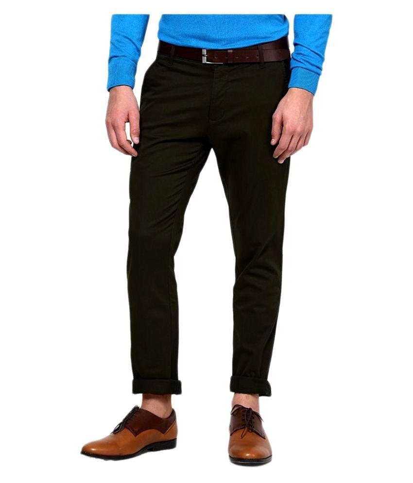 AD & AV Olive Green Slim Flat Trouser