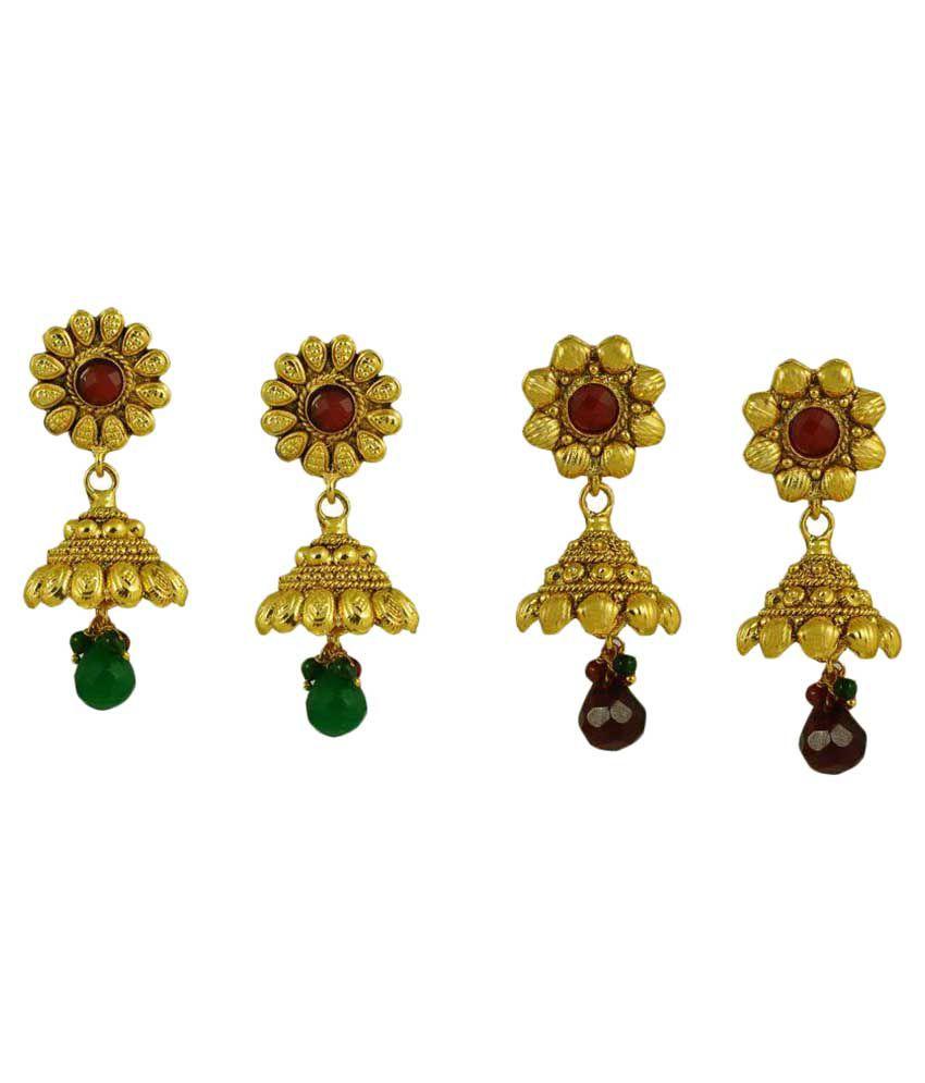 Kalyani Covering Yellow Jhumkis - Pack of 2