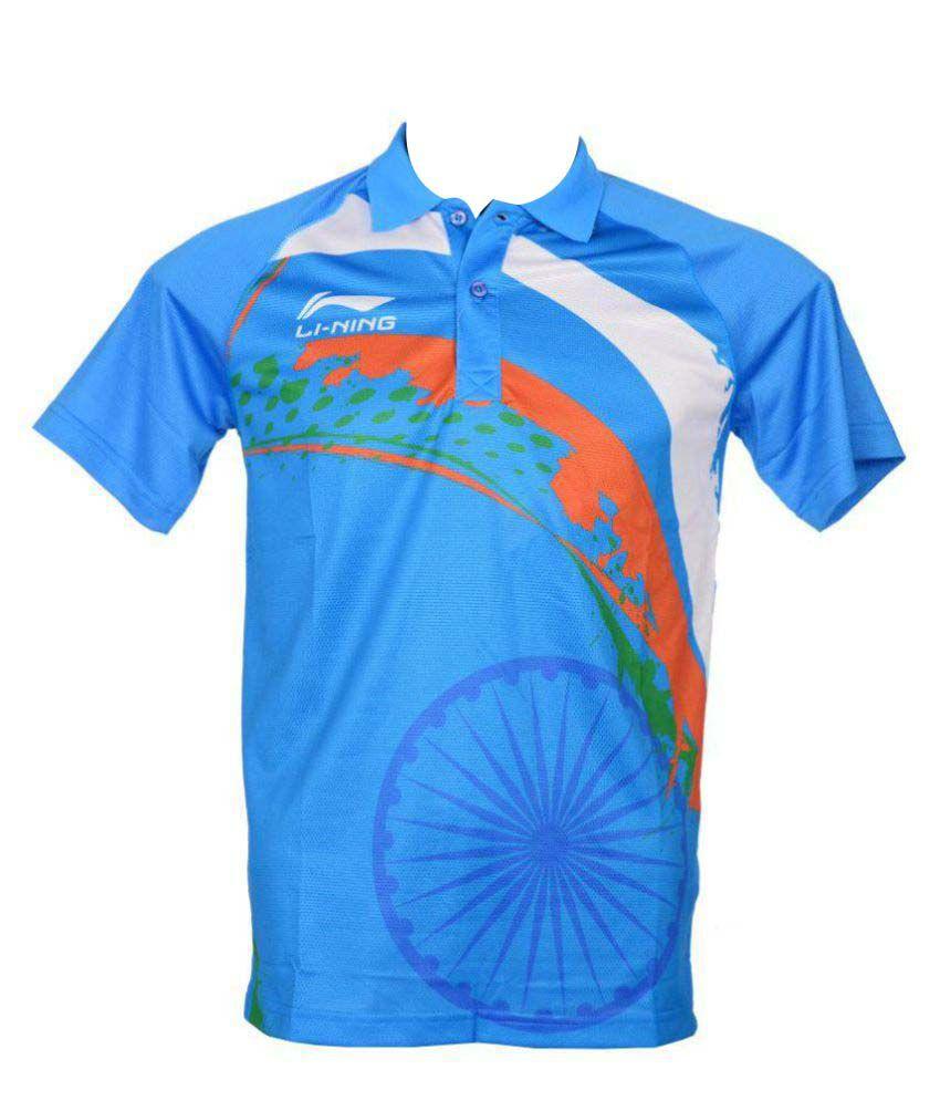 Li-Ning Sky Blue Nylon Polo T-shirt Single Pack
