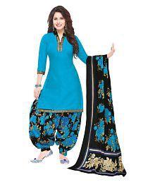 Baalar Blue Cotton Dress Material