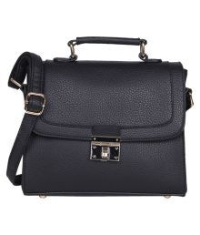 Lino Perros Black Faux Leather Shoulder Bag