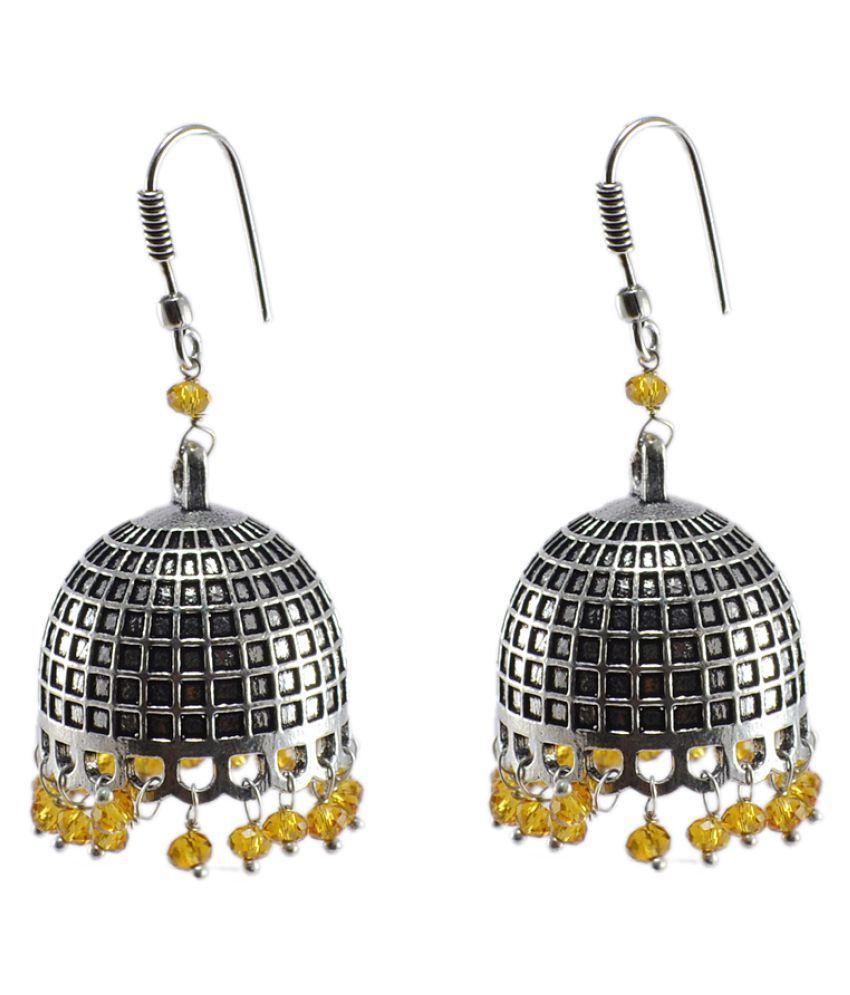 Silvesto India Black Alloy Jhumki Earrings