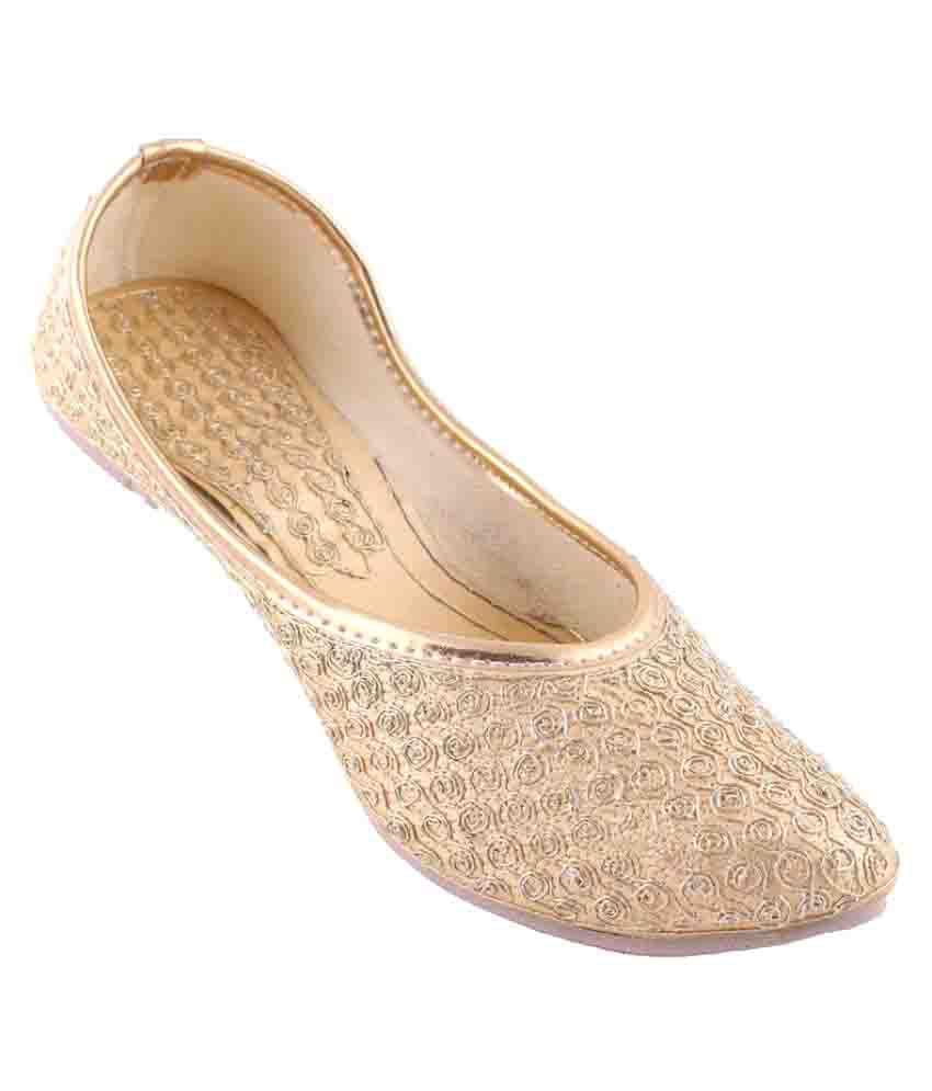 Neerupam Collection Gold Flat Ethnic Footwear