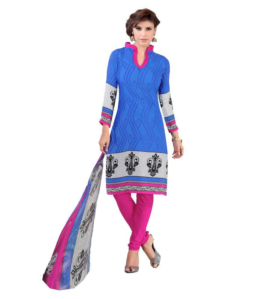 Women Latest Fancy Designer Salwar Suit Blue Crepe Dress Material