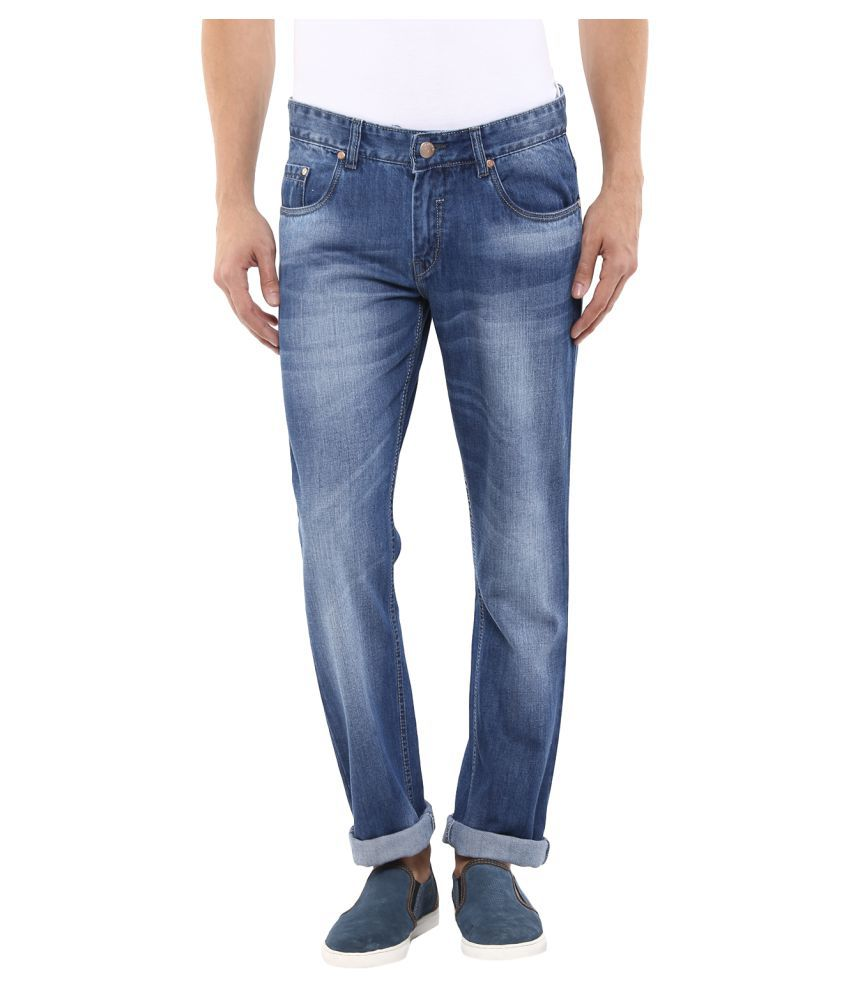 11cent Light Blue Regular Fit Faded