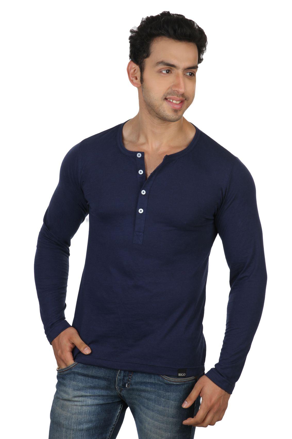 20aca9b9 Rigo Navy Blue Slim Fit Henley T-Shirt - Buy Rigo Navy Blue Slim Fit Henley  T-Shirt Online at Low Price - Snapdeal.com