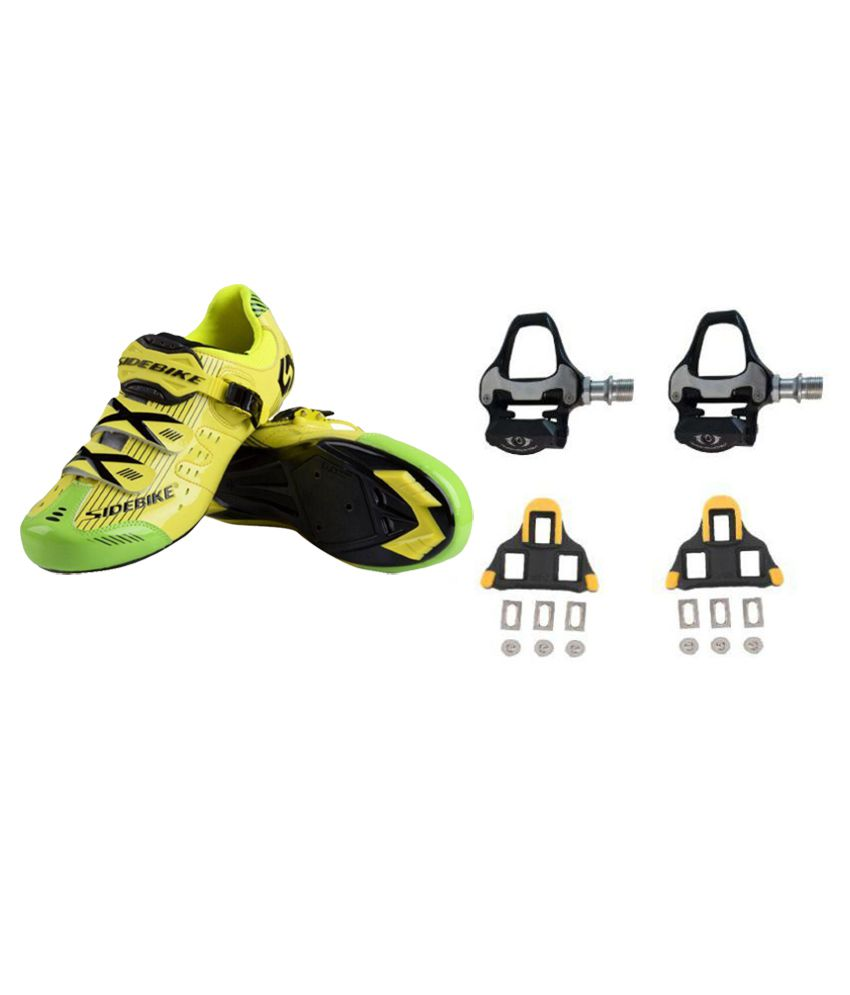 Sidebike Road Cycling Yellow Shoes and Fusion SPD-SL Pedals With Cleat