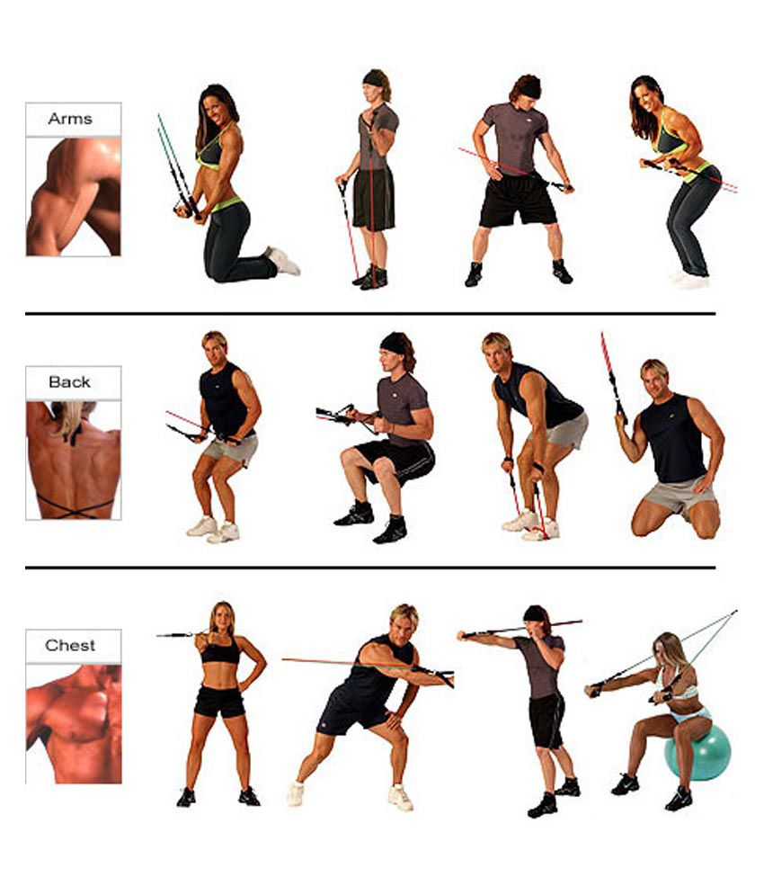 Golds Gym Long Resistance Tube With Exercise Chart Extra