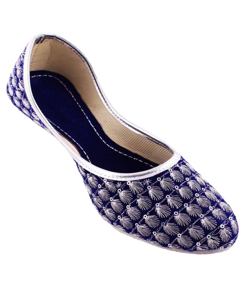 Neerupam Collection Blue Flat Ethnic Footwear
